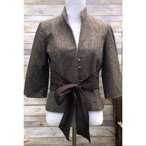 Robert Rodriguez Wool Silk Crop Tie Front Blazer